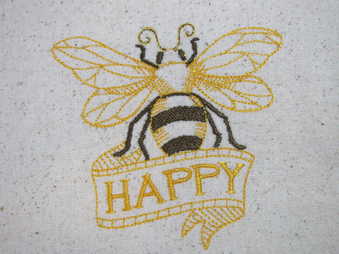 Reusable Food-Safe Embroidered Sandwich Bag - Bee Happy