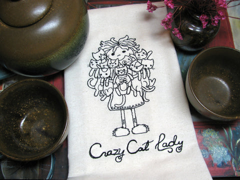 Embroidered Tea Towel by Ecotopia- Crazy Cat Lady - Choose Your Color