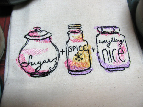 Embroidered Tea Towel by Ecotopia- Sugar, Spice and Everything Nice
