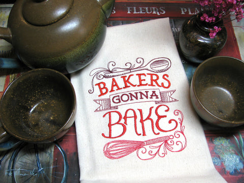 Embroidered Tea Towel by Ecotopia- Bakers Gonna Bake - Choose Your Color