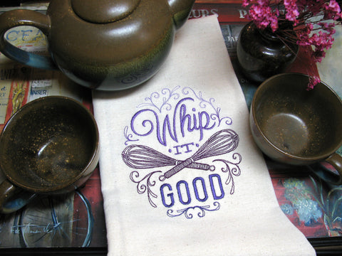 Embroidered Tea Towel by Ecotopia- Whip It Good - Choose Your Color