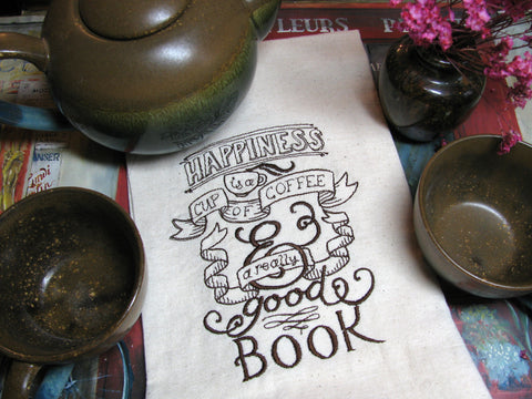 Embroidered Tea Towel by Ecotopia- Coffee and a Good Book - Choose Your Color