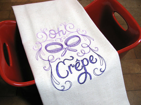 Embroidered Tea Towel by Ecotopia- Oh Crepe - Choose Your Color