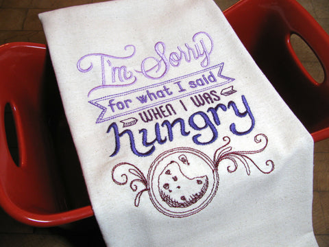 Embroidered Tea Towel by Ecotopia- Sorry For What I Said - Choose Your Color