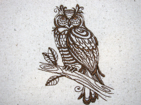 Reusable Food-Safe Embroidered Sandwich Bag - Filigree Owl