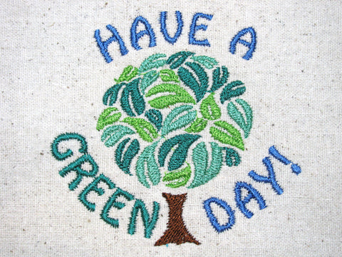 Reusable Food-Safe Embroidered Sandwich Bag - Have a Green Day