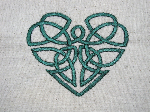 Reusable Food-Safe Embroidered Sandwich Bag - Celtic Heart
