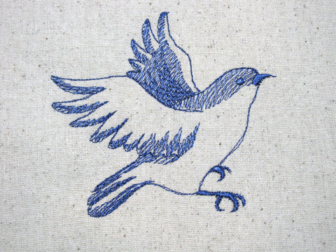 Reusable Food-Safe Embroidered Sandwich Bag - Bluebird Sketch