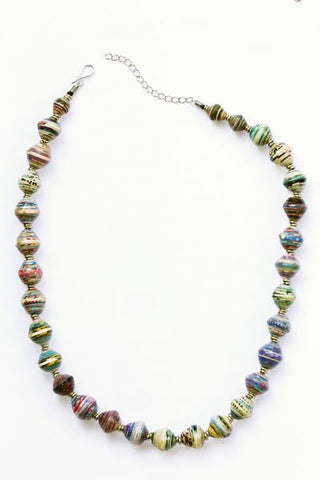 Amani Recycled Paper Bead Necklace