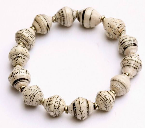 Recycled Paper Stretch Bracelet - Newsprint