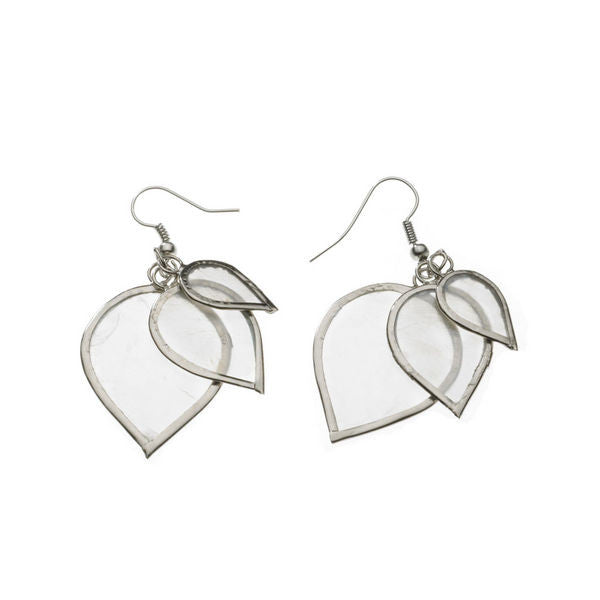 Capiz Shell Layered Leaf Earrings