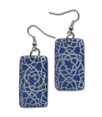 Capiz Shell Hand-Painted Earrings - Midnight Bloom