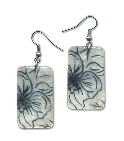 Capiz Shell Hand-Painted Earrings - Frosted Hibiscus
