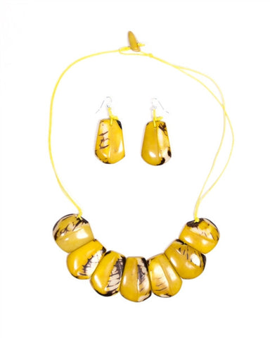 Organic Tagua Nut River Bed Necklace and Earring Set- Amarillo