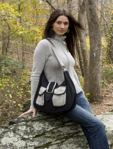 Eco Chic Black and Grey Cotton Handbag