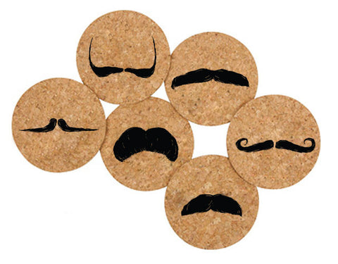 Printed Natural Cork Coasters - Moustaches