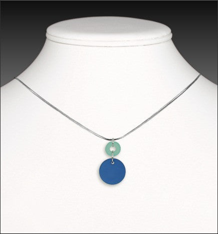 Recycled Glass Cirque Necklace - Sea Green and Cobalt