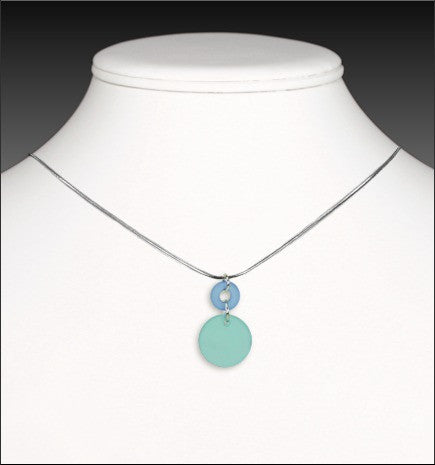 Recycled Glass Cirque Necklace - Light Blue and Turquoise