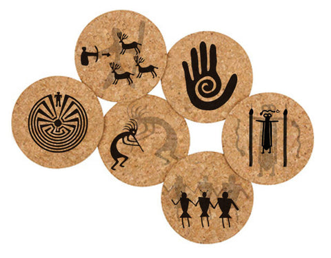 Printed Natural Cork Coasters - Petroglyphs