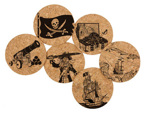Printed Natural Cork Coasters - Pirates