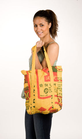 Recycled Rice Bag Tote Yellow Tones