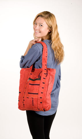 Recycled Rice Bag Tote Red Tones