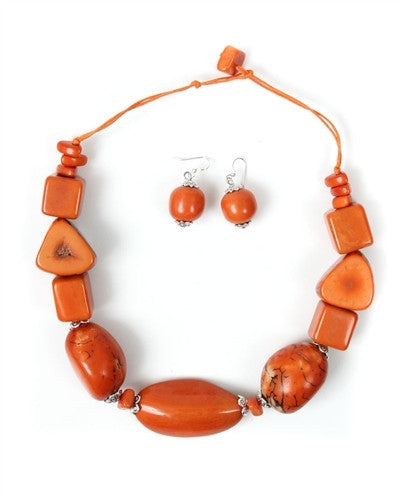 Organic Tagua Nut Salinas Necklace and Earring Set-  Naranja