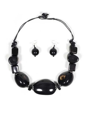 Organic Tagua Nut Salinas Necklace and Earring Set-  Onyx