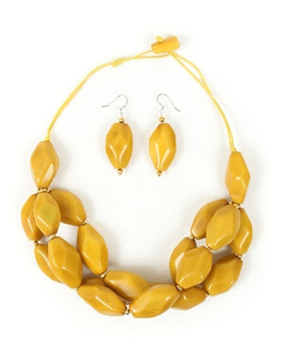 Organic Tagua Nut Joyes de Rio Necklace and Earring Set-  Amarillo