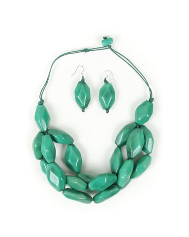 Organic Tagua Nut Joyes de Rio Necklace and Earring Set-  Mint