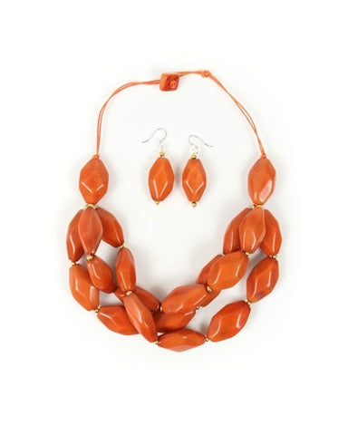 Organic Tagua Nut Joyes de Rio Necklace and Earring Set-  Naranja