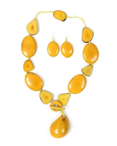 Organic Tagua Nut Sosote Drop Necklace and Earring Set-  Amarillo