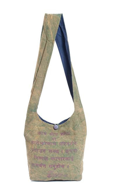 """Employ, Educate, Empower"" Green Cotton Cross Body Shoulder Bag"