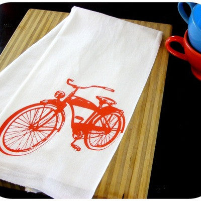 Organic Cotton Hand Printed Tea Towel - Red Retro Bicycle
