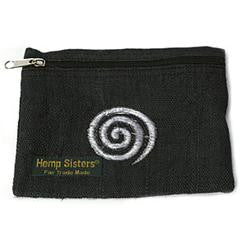 Embroidered Black Hemp Spiral Coin Purse Large