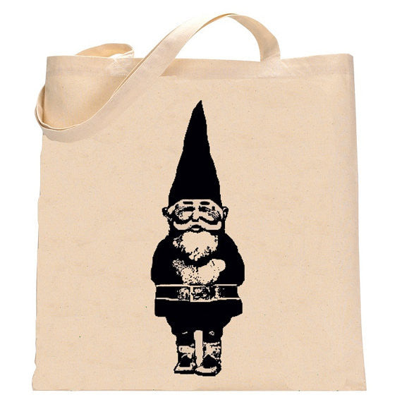 Recycled Cotton Hand Printed Tote Bag- Lucky Gnome