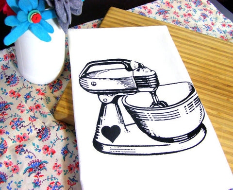 Organic Cotton Hand Printed Tea Towel - Vintage Black Mixer