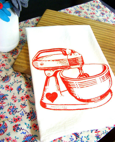 Organic Cotton Hand Printed Tea Towel - Vintage Red Mixer