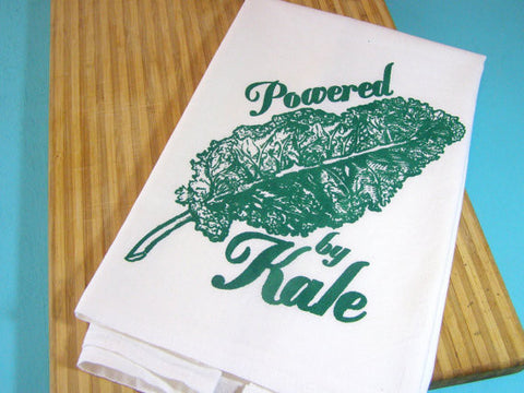 Organic Cotton Hand Printed Tea Towel - Powered By Kale
