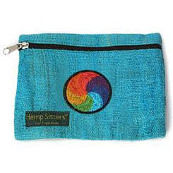 Embroidered Turquoise Hemp Rainbow Coin Purse Large