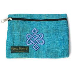 Embroidered Turquoise Hemp Celtic Coin Purse Large