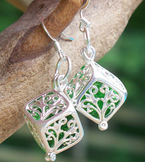 Emerald Filigree Box Earrings - Recycled Glass