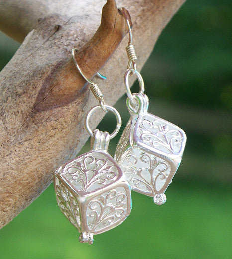 White Filigree Box Earrings - Recycled Glass