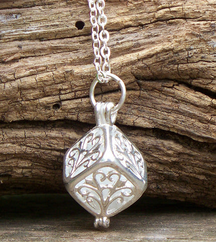 White Filigree Box Necklace