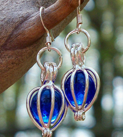 Cobalt and Silver Drop Earrings - Recycled Glass