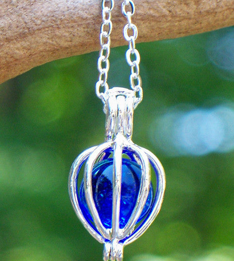 Cobalt and Silver Drop Necklace