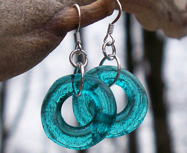 Recycled Glass Hoop Earrings
