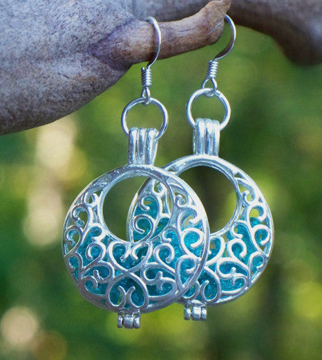 Ice Blue and Silver Filigree Hoop Earrings - Recycled Glass
