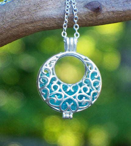 Ice Blue and Silver Filigree Hoop Necklace