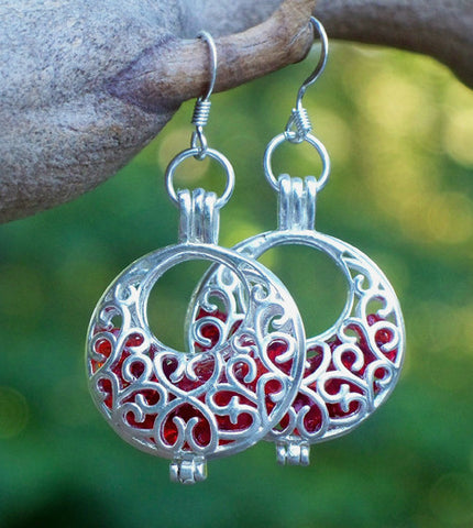 Ruby and Silver Filigree Hoop Earrings - Recycled Glass